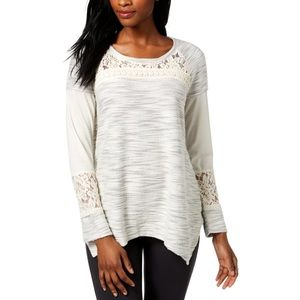 Style &Co Heathered Lace Panel Sweater Top